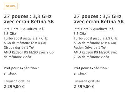 Comparatifs iMac 5K